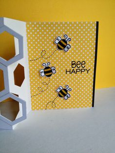 I haven& played the CAS·ology challenge in a while, couldn& resist the challenge this week, what great fun. I only have one bee i. Fancy Fold Cards, Folded Cards, Handmade Card Making, Handmade Cards, Bee Images, Diy And Crafts, Paper Crafts, Image Stamp, Bee Cards