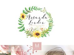 Hey, I found this really awesome Etsy listing at https://www.etsy.com/listing/244886936/sunflower-logo-romantic-logo-watercolor
