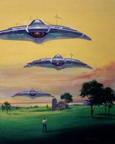 Art by science fiction and fantasy illustrator Vincent di Fate Art Science Fiction, Science Art, Art Alien, 70s Sci Fi Art, Classic Sci Fi, Aliens And Ufos, Retro Art, Cover Art, Fantasy Art