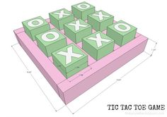 DIY wood tic tac toe game free plans.  Games and gifts to build.