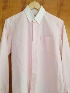 Maison Kitsune Mens Pink Oxford Dress Shirt  39 15.5 Cotton Italy excellent #MaisonKitsune