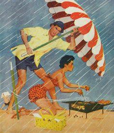 Beach barbecue in therain