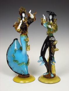 Murano Glass Sculptures and Figurines | Pair of Murano glass Flamenco Dancer figurines by Franco Toffolo