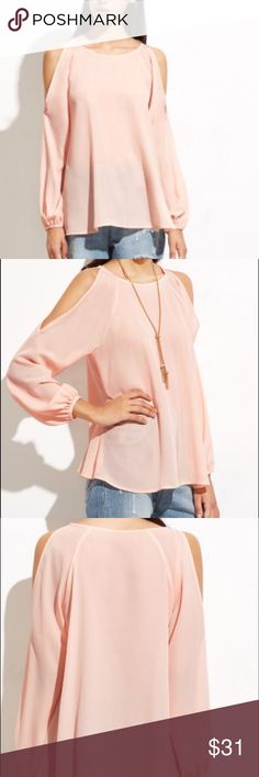🌺PRETTY PEACH COLD SHOULDER TOP🌺 GORGEOUS CHIFFON LIKE FLOWY TOP. LOOSE AND COMFY FIT. Tops Blouses