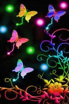 Light it up with every neon color of the rainbow! Butterfly Painting, Butterfly Wallpaper, Butterfly Flowers, Love Wallpaper, Butterfly Design, Beautiful Butterflies, Rainbow Butterfly, Neon Rainbow, Rainbow Gif