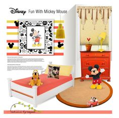 """Fun with Mickey Mouse"" by emjule ❤ liked on Polyvore featuring interior, interiors, interior design, home, home decor, interior decorating, York Wallcoverings, KidKraft, Trend Lab and Disney"