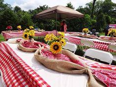 Bandana and burlap table setting