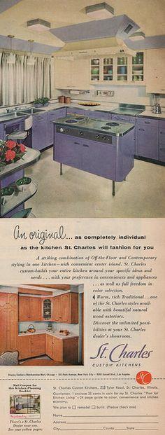St Charles steel kitchen in purple. 1959