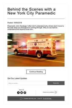 Posted: Paramedic John Saratoga I often don't understand why drivers don't move to the side when an ambulance is coming through. Dont Understand, Ambulance, Continue Reading, New York City, Behind The Scenes, News, New York, Nyc