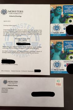 Monsters University Acceptance Letter Invitation
