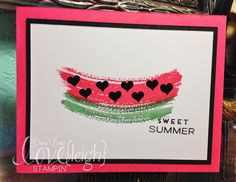 Stampin' Up! Work of Art Watermelon Card. Strawberry Slush, Garden Green