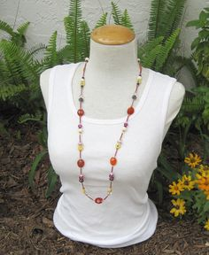 Long Necklace strung beads Tribal Boho Fall by alanabobanna, $40.95