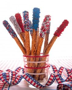 4th of July Quick Kid Snack -  Pretzel Sparklers! Chocolate morsels, pretzels, candy sprinkles