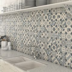 Top 15 Patchwork Tile Backsplash Designs for Kitchen 2019 white-blue-patchwork-backsplash-world-parks-vives.jpg The post Top 15 Patchwork Tile Backsplash Designs for Kitchen 2019 appeared first on Quilt Decor. Patchwork Kitchen, Patchwork Tiles, Patchwork Baby, Patchwork Pillow, Patchwork Jeans, Patchwork Patterns, Küchen Design, Tile Design, Design Ideas