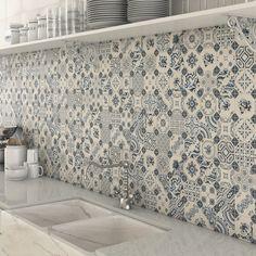 Bologna Blue Pattern Mosaic Tiles used as a splashback tile in kitchen.