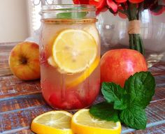 Summer Detox Water Round Up -  apples, strawberry for skin mint, lemon for digestion cinnamon to control cravings.