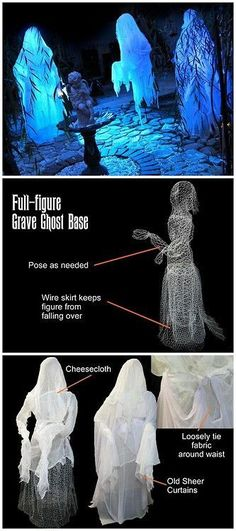 DIY Life Size Ghost Tutorial from DIY Network. These ghost are made from chicken… DIY Life Size Ghost Tutorial from DIY Network. These ghost are made from chicken wire and clothed with cheesecloth. Good tutorial with a detailed materials list. Fete Halloween, Creepy Halloween, Outdoor Halloween, Halloween Projects, Halloween Cosplay, Holidays Halloween, Halloween Stuff, Haunted Halloween, Halloween Celebration