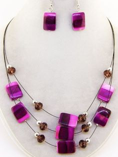 Purple Necklace and Earring Set ~ Fashion Jewelry Rose's Gift Store~Fashion Jewelry, http://www.amazon.com/dp/B00AGOJOQQ/ref=cm_sw_r_pi_dp_5MRirb1FYWP92