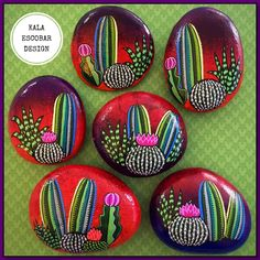 Rock Painting Patterns, Rock Painting Ideas Easy, Dot Art Painting, Rock Painting Designs, Pebble Painting, Pebble Art, Stone Painting, Painted Rock Cactus, Hand Painted Rocks