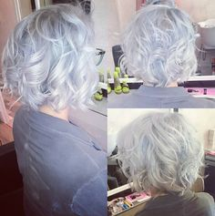 Curly Bob Hairstyle for Silver Grey Hair