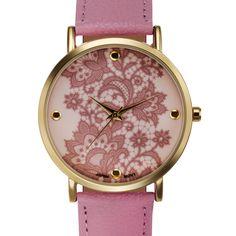 f6f0204c0 Rousseau Lace Ladies Watch Genuine Leather Strap Lace Print Dial Geneva  Platinum