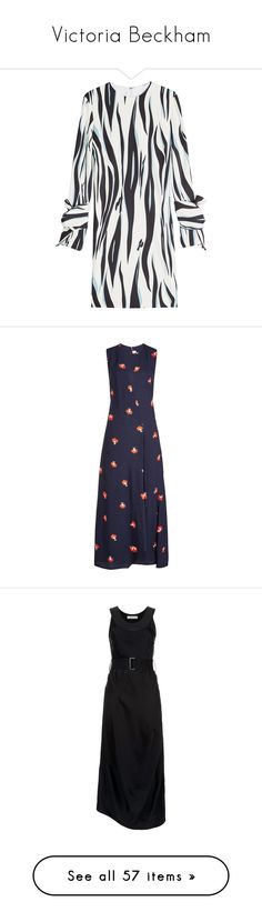 """Victoria Beckham"" by bliznec ❤ liked on Polyvore featuring dresses, multicolored, sleeved dresses, multi colored dress, slim fit dress, multi print dress, slimming white dress, blue dresses, floral midi dress and floral pattern dress"