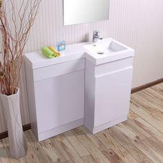 Aston Right Hand White Gloss Bathroom White Basin Vanity Unit & Toilet Unit - 1000mm
