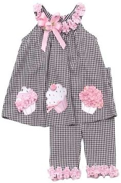 Rare Editions Baby Girls Birthday Cupcake Seersucker Dress Capri Outfit Set , Black , 5 - My CMS Toddler Dress, Toddler Outfits, Kids Outfits, Little Dresses, Little Girl Dresses, Vestido Seersucker, Girl Birthday Cupcakes, Baby Cupcake, Baby Girl Birthday
