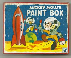 SOLD - Vintage Tin Transogram MICKEY MOUSE PAINT BOX - 1950's?