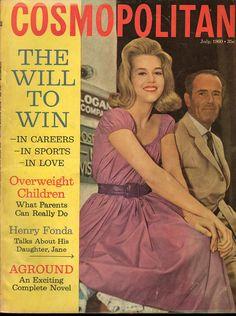 Cosmopolitan magazine, JULY 1960 Henry Fonda with daughter Jane Fonda on cover