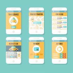 Application design of mobile phone a taxi Vector AI Vector Design, App Design, Layout Design, Mobile Application Design, Mobile Design, Design Taxi, Ui Color, Android Ui, Free Cars