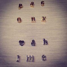 silver letter charms locked necklace de la boutique LIZAKORN sur Etsy