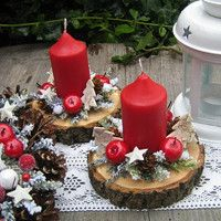 Tischdeko Weihnachten - New Ideas Christmas Arrangements, Christmas Table Decorations, Christmas Candles, Rustic Christmas, Diy Christmas Gifts, Christmas Art, Christmas Projects, Christmas Holidays, Christmas Wreaths