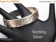 Sterling Bracelet - Mexico - Hinge Bangle - Silver etched Hammer design - safety chain- A 925 N