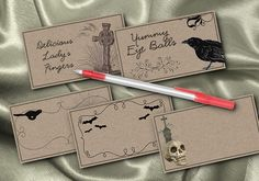 Halloween Food Place Cards  10 Halloween Spooky Fun Blank Food Label Cards. $4.95, via Etsy.