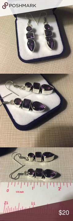 Pretty artisan handcrafted amethyst earrings 925 Stamped 925 amethyst earrings 3 stones very pretty approximately 2'long pierce artisan handcrafted inlay width is 1/4' approximately nwot Jewelry Earrings