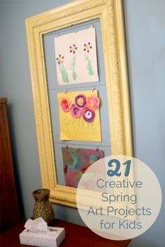 21 creative and colorful Spring art projects for kids to make! I love how she displays the artwork in the frame! Spring Art Projects, Spring Crafts For Kids, Projects For Kids, Art For Kids, Craft Projects, Kids Work, Kid Art, Craft Ideas, Spring Activities