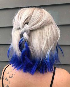 Pretty Hair Color, Hair Color Purple, Hair Dye Colors, Hair Color Tips, Colored Hair Tips, Blue Tips Hair, Two Color Hair, Cute Hair Colors, Gray Hair