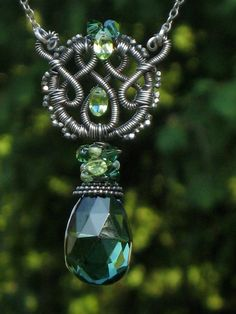 Emerald wire wrapped necklace @Wire We Here