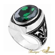 """Silver Emerald Ring $187 Silver Men Ring with Emerald Stone. Available in all men sizes. """"Emerald brings life, nourishment, and healing to t... #jewellery #silver #oriental #fashion #jewelry #manring #manjewelry #ring #man #ottoman #hurrem #authentic #vintage #luxury #handmade #emerald"""