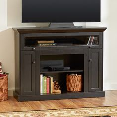 Features:  -Roll away glass door for audio video components.  -TV stand.  -Two exterior component shelves.  -Two doors with concealed shelving storage.  -Wood construction.  -Distressed Dark Espresso