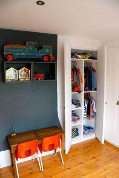 orange + grey I MUST FIND THESE ORANGE CHAIRS!! #boys #toddler #chairs #preschool #orange #grey #room #wall