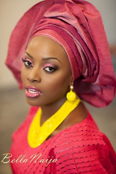 Makosi made up as a traditional Nigerian bride for the Makeup and Beads by GeeBalo campaign. gele, beads