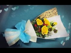 How To Make Flower Bouquet With Five Rose - Craft Tutorial - YouTube