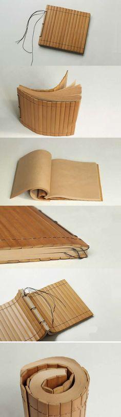 Bamboo Cover NoteBook: beautiful kraft journal with bamboo covers. Book Crafts, Paper Crafts, Diy Paper, Art Postal, Bookbinding Tutorial, Bookbinding Ideas, Buch Design, Handmade Books, Handmade Notebook