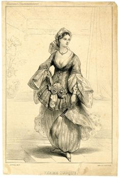 Plate 9; a Turkish woman, standing, wearing a typical Turkish costume and holding a horse tail.  1831  Lithograph
