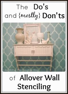 Allover Wall Stenciling - Detailed post with all you need to know to use an allover wall stencil. If you're thinking of stenciling a wall, pin this pin!