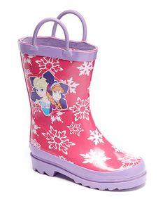 Another great find on #zulily! Pink Frozen Anna & Elsa Rain Boot #zulilyfinds