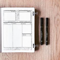 Bullet journal weekly layout, lineart, patterned background. | @supermassiveblackink