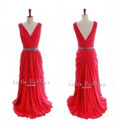 Vestidos de rojo de Dama de honor vestido por LittleRufflesBridal, $129.99